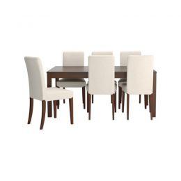 BJURSTA/ HENRIKSDAL galds, 6 krēsli (rieksts, balts)