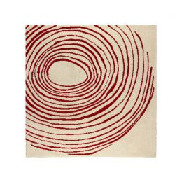EIVOR CIRKEL paklājs (balts, sarkans)