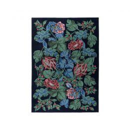 EMMIE PÄRLA paklājs (melns, puķains, vilnas)