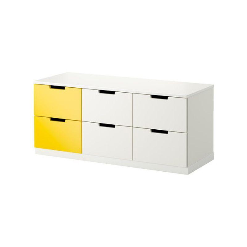 NORDLI Kumode ar 6 atvilknēm (balta,dzeltena)