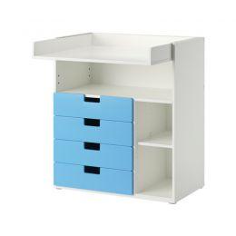 STUVA galds/pārtinamais galds, balts,zils